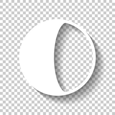 Simple moon, astronomy logo. White icon with shadow on transparent background