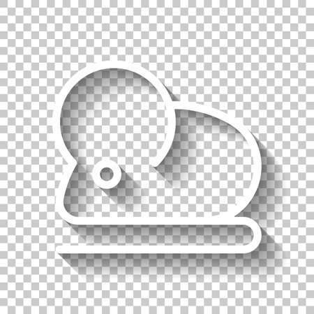 Mouse or rat, animal, outline design. White icon with shadow on transparent background