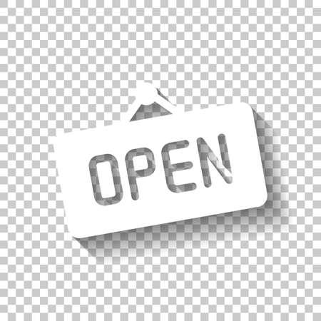 Abra la etiqueta o la etiqueta para la tienda. Icono blanco con sombra sobre fondo transparente