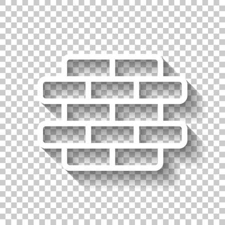 Brick wall, protection logo, outline design. White icon with shadow on transparent background