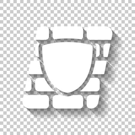 Shield and wall, building protection. White icon with shadow on transparent background