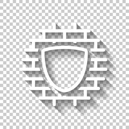 Shield and wall, building protection, outline design. White icon with shadow on transparent background Stock Illustratie