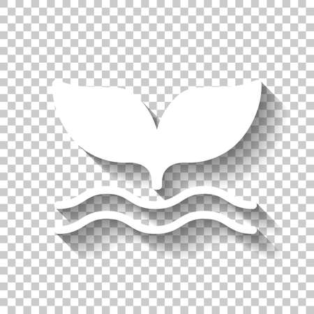 Silhouette of whale tail on wave. White icon with shadow on transparent background