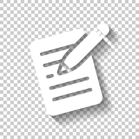 Write text, create or edit document, pencil and paper. White icon with shadow on transparent background