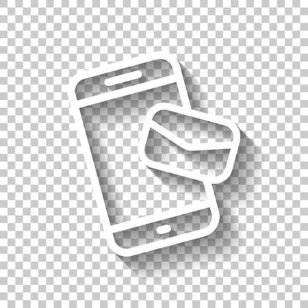 Email and mobile phone, outline design. White icon with shadow on transparent background Vecteurs