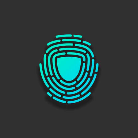 Shield in fingerprint. Logo of protect private id. Security icon. Colorful logo concept with soft shadow on dark background. Icon color of azure ocean
