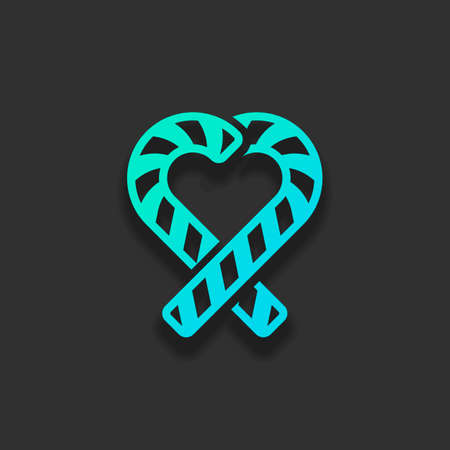 Candy heart with couple christmas lollipop. Colorful logo concept with soft shadow on dark background. Icon color of azure ocean Ilustracja