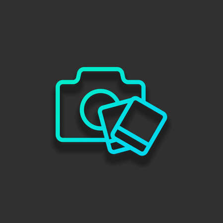 Camera with   photo cards, outline linear icon. Colorful logo concept with soft shadow on dark background. Icon color of azure ocean