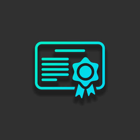 Document of certificate with award, linear outline icon. Colorful logo concept with soft shadow on dark background. Icon color of azure ocean