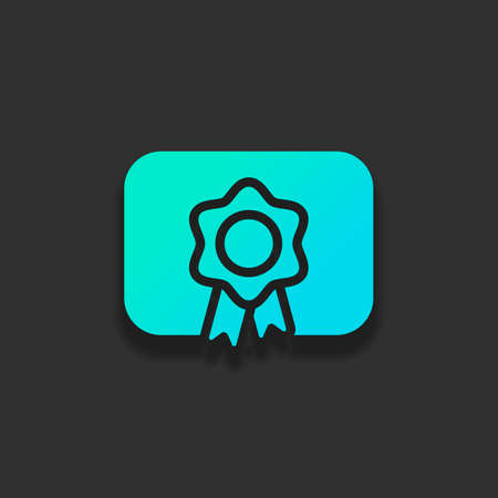 Document of certificate with award, diploma icon. Colorful logo concept with soft shadow on dark background. Icon color of azure ocean Logo