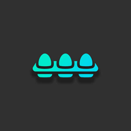 egg tray, simple icon. Colorful logo concept with soft shadow on dark background. Icon color of azure ocean