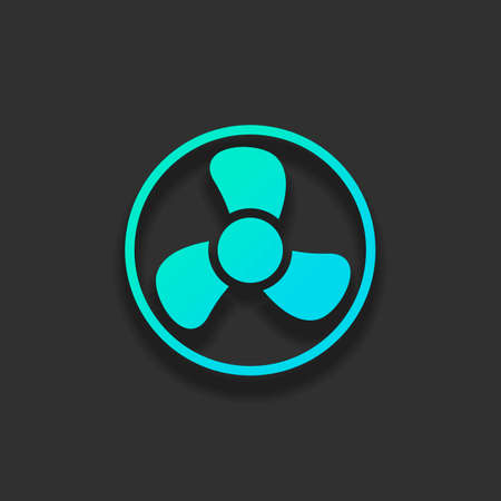 Simple fan or cooler, icon in circle. Colorful logo concept with soft shadow on dark background. Icon color of azure ocean