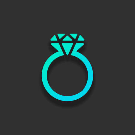 Ring with diamond or brilliant, wedding gift, icon. Colorful logo concept with soft shadow on dark background. Icon color of azure ocean Vettoriali