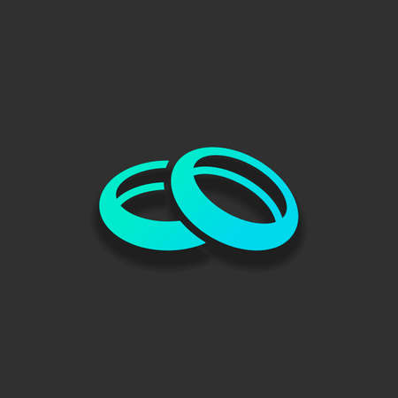 Wedding rings, pair circles, simple icon. Colorful logo concept with soft shadow on dark background. Icon color of azure ocean