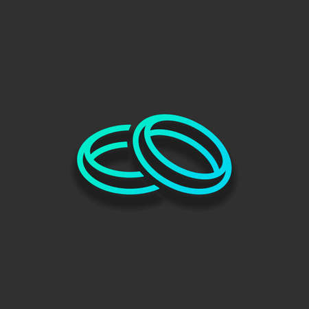 Wedding rings, pair crossed and linked circles, linear outline icon. Colorful logo concept with soft shadow on dark background. Icon color of azure ocean Illustration