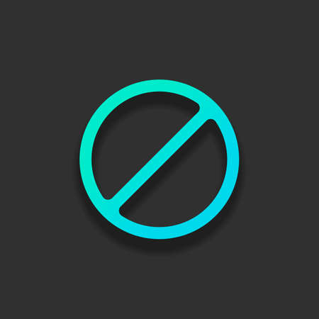 Stop or ban or cancel, simple circle. Colorful logo concept with soft shadow on dark background. Icon color of azure ocean