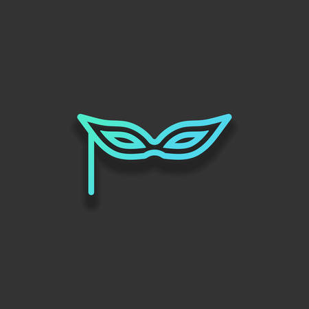 Carnival mask, incognito at the masquerade, linear style. Colorful logo concept with soft shadow on dark background. Icon color of azure ocean Çizim