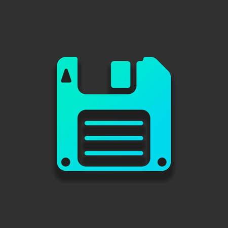 Diskette, floopy disk, save file. Colorful logo concept with soft shadow on dark background. Icon color of azure ocean