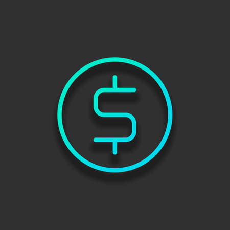 Dollar coin, money sign, outline design. Colorful logo concept with soft shadow on dark background. Icon color of azure ocean Illustration