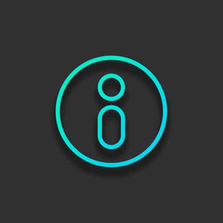 Information symbol in circle, inform desk, i letter, outline design. Colorful logo concept with soft shadow on dark background. Icon color of azure ocean Ilustrace