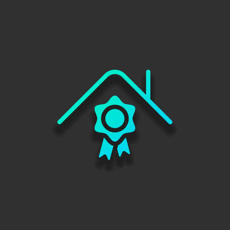 Certification house, certificate of quality for building. Colorful logo concept with soft shadow on dark background. Icon color of azure ocean