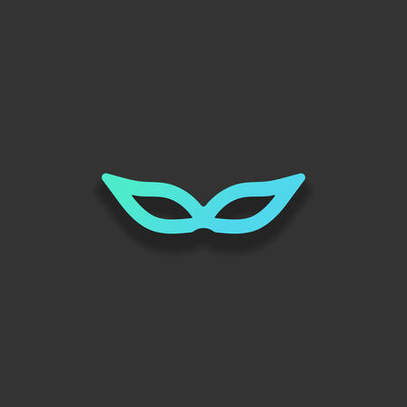 Masquerade mask, carnival or party. Colorful logo concept with soft shadow on dark background. Icon color of azure ocean Çizim