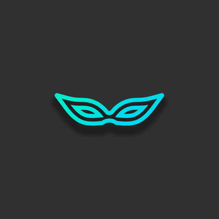 Masquerade mask, carnival or party, outline design. Colorful logo concept with soft shadow on dark background. Icon color of azure ocean Çizim