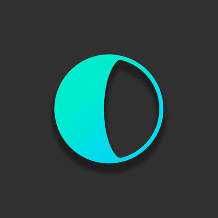 Simple moon, astronomy logo. Colorful logo concept with soft shadow on dark background. Icon color of azure ocean