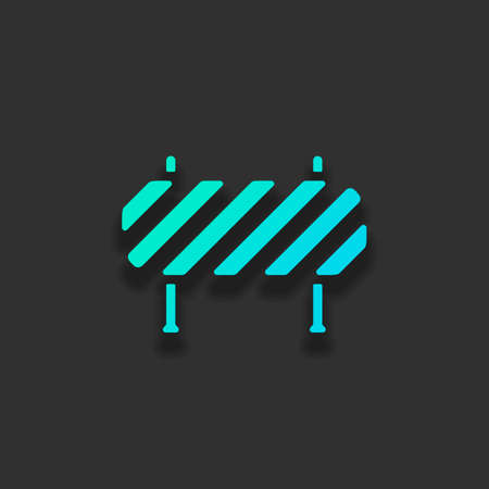 Road barrier, block entry. Colorful logo concept with soft shadow on dark background. Icon color of azure ocean Stock Illustratie