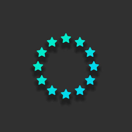 Stars circle, european union. Colorful logo concept with soft shadow on dark background. Icon color of azure ocean 일러스트