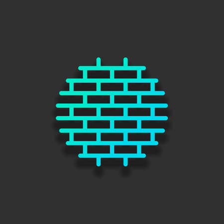 Brick wall, protection logo, outline design. Colorful logo concept with soft shadow on dark background. Icon color of azure ocean