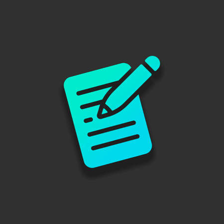 Write text, create or edit document, pencil and paper. Colorful logo concept with soft shadow on dark background. Icon color of azure ocean Illustration