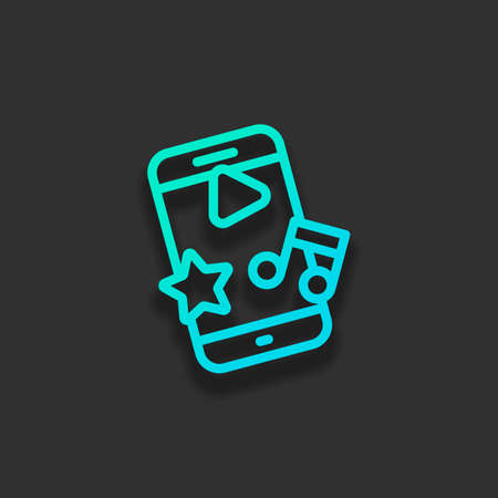 Mobile entertainment, media in phone, outline design. Colorful logo concept with soft shadow on dark background. Icon color of azure ocean