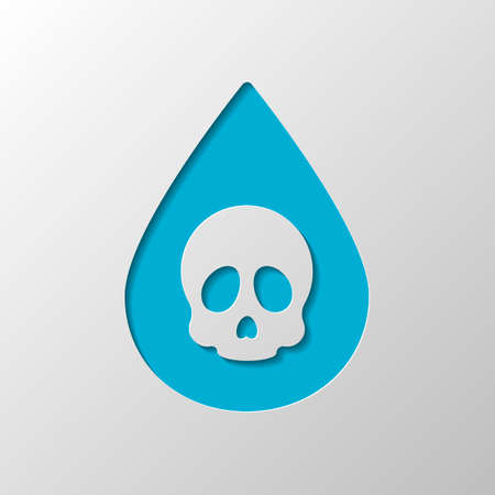 Drop of poison or acid with skull symbol. Icon of danger. Paper design. Cutted symbol with shadow