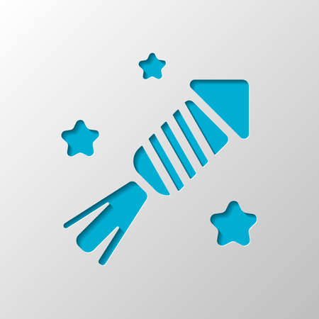 Fireworks rocket with stars. Celebrate icon. Paper design. Cutted symbol with shadow Illustration