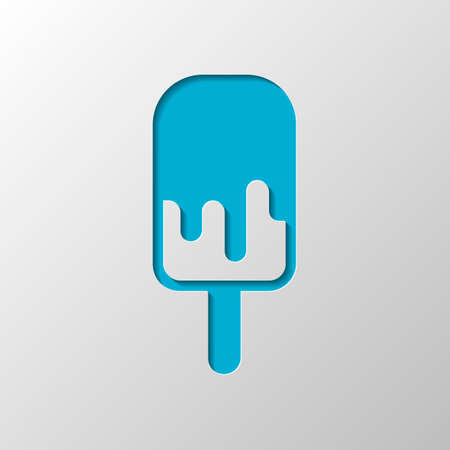 Ice lolly, eskimo on stick with chocolate, ice-cream. Simple icon. Paper design. Cutted symbol with shadow