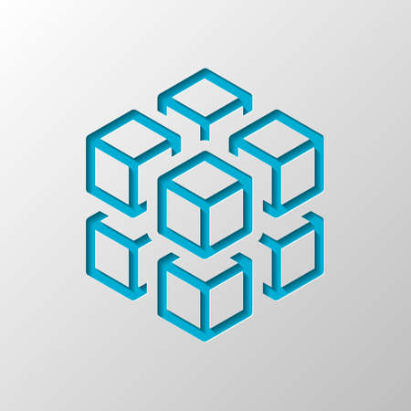 3d cube with eight blocks. Icon of rubik or ice pieces. Paper design. Cutted symbol with shadow