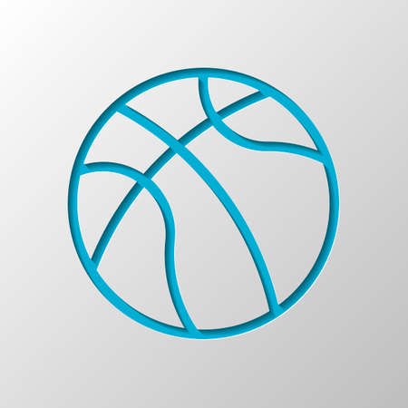 backetball, linear sport logo, simple ball. Paper design. Cutted symbol with shadow