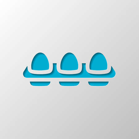 egg tray, simple icon. Paper design. Cutted symbol with shadow Illustration
