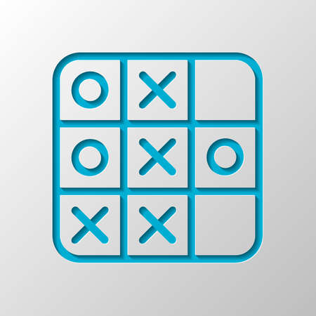 Tic tac toe game, linear outline icon. Paper design. Cutted symbol with shadow