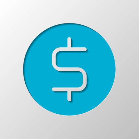 Dollar coin, money sign. Paper design. Cutted symbol with shadow