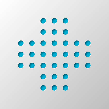 Digital dotted plus, positive or medical symbol. Paper design. Cutted symbol with shadow Illusztráció