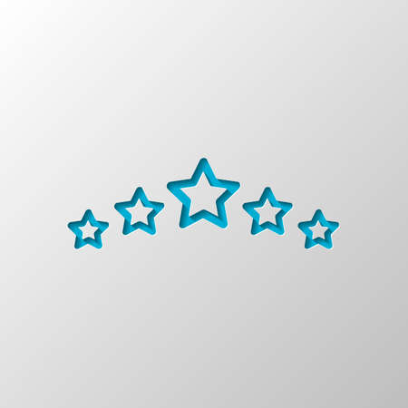 5 stars rating, top service, outline design. Paper design. Cutted symbol with shadow