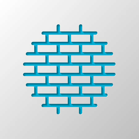 Brick wall, protection logo, outline design. Paper design. Cutted symbol with shadow Stock Illustratie