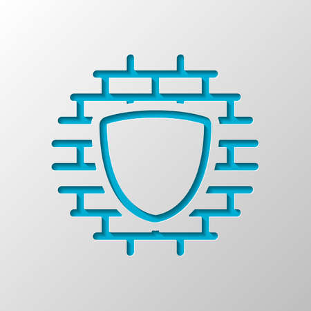 Shield and wall, building protection, outline design. Paper design. Cutted symbol with shadow