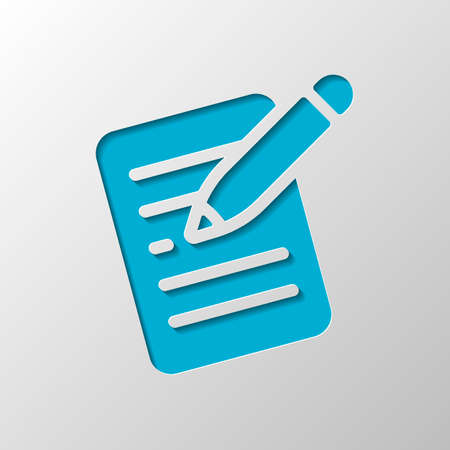 Write text, create or edit document, pencil and paper. Paper design. Cutted symbol with shadow Illustration