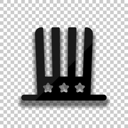 4 july, independence day. hat icon. Black glass icon with soft shadow on transparent background