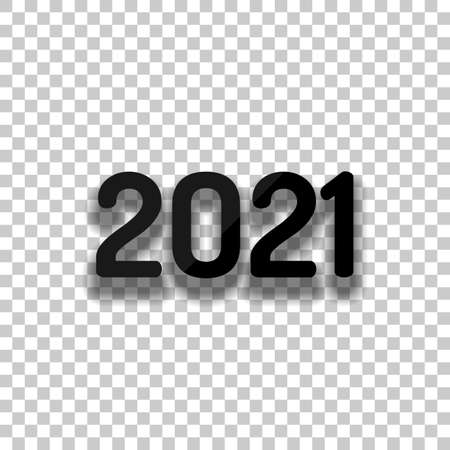 2021 number icon. Happy New Year. Black glass icon with soft shadow on transparent background