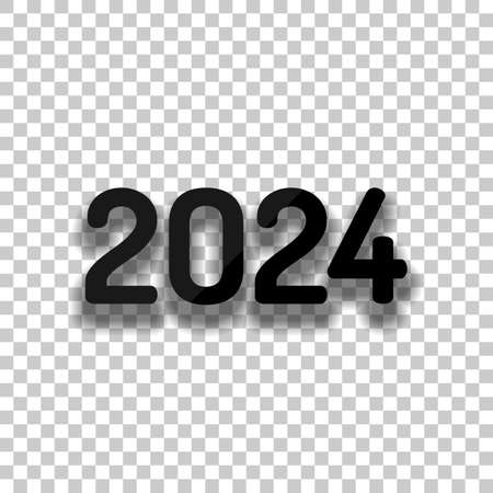 2024 number icon. Happy New Year. Black glass icon with soft shadow on transparent background Illustration