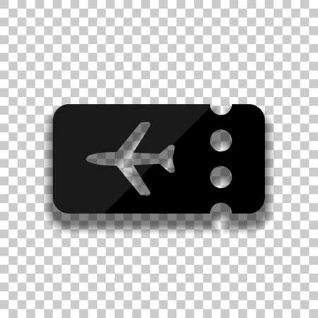 Simple ticket plane icon. Blank card. Black glass icon with soft shadow on transparent background